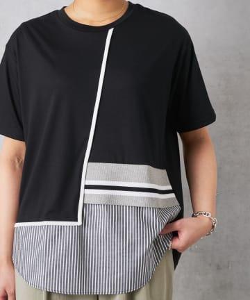 Pal collection(パルコレクション) 《1枚で主役級映え》ラインブロッキングTシャツ