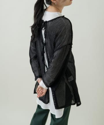 Kastane(カスタネ) メッシュ7分袖オーバーカーデ