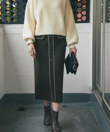 un dix cors(アンディコール) 《予約》【スタイルアップが叶う】ジャージメルトンパイピングナロースカート