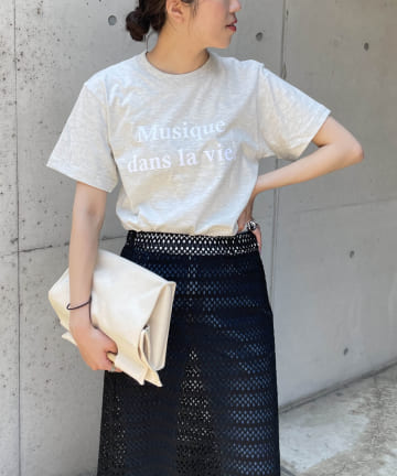 CAPRICIEUX LE'MAGE(カプリシュレマージュ) <新色追加/ライトグレー>Musique Tシャツ