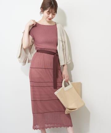 natural couture(ナチュラルクチュール) 【WEB限定】透かし柄デザイン配色ニットワンピース