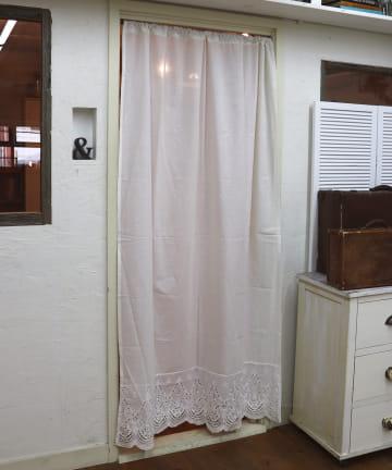 salut!(サリュ) 【shabby white】カットワーク刺繍カーテン