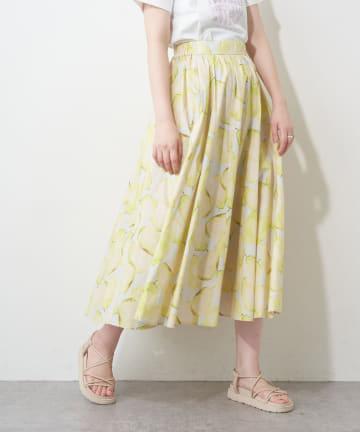 natural couture(ナチュラルクチュール) ラフランス柄フレアスカート
