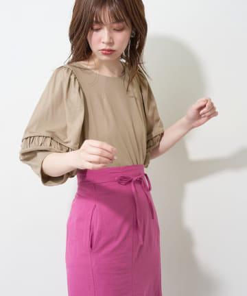 natural couture(ナチュラルクチュール) タックギャザーおしゃれスリーブT