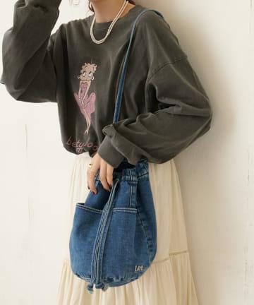 Discoat(ディスコート) 【Lee/リー】デニム×ボアリバーシブル巾着トートバッグ