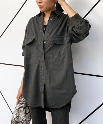 Loungedress(ラウンジドレス) 【YANUK/ヤヌーク】CPO SHIRT-MBK シャツ