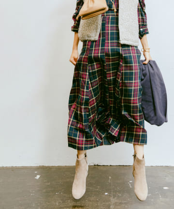 La boutique BonBon(ラブティックボンボン) 【COZスタイル・セットアップ可・洗える】チェックマーメイドマキシスカート