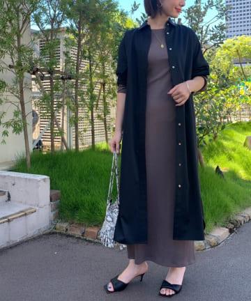 Loungedress(ラウンジドレス) サテンBIGシャツワンピース