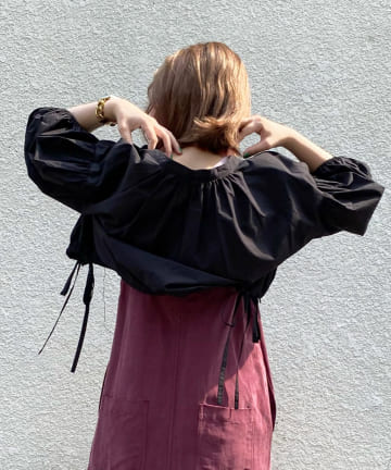 DOUDOU(ドゥドゥ) クロップドボリュームシャツ