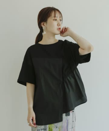mona Belinda(モナ ベリンダ) 【WEB限定】アシメ異素材切替ドロストT
