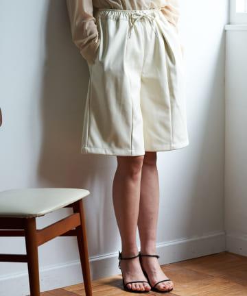 Loungedress(ラウンジドレス) 【odore/オドル】フェイクレザーハーフパンツ