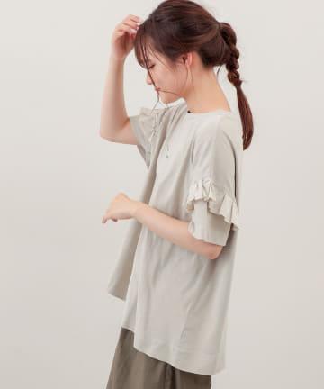 pual ce cin(ピュアルセシン) ピグメント染め×ロゴプリントTシャツ