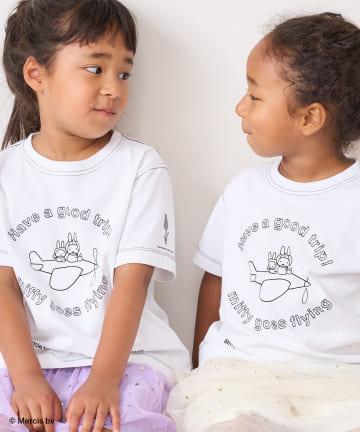 pual ce cin(ピュアルセシン) 【サステナブル・EWEB限】ミッフィープリント×刺繍Tシャツ(kids)