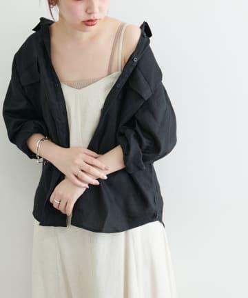 natural couture(ナチュラルクチュール) カシュクールにもなるカラーリネンシャツ