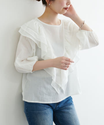 natural couture(ナチュラルクチュール) 【WEB限定】フリルデザイン楊柳ブラウス