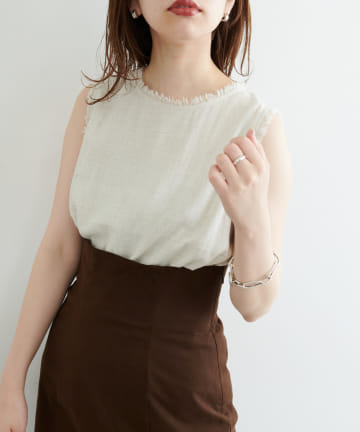 natural couture(ナチュラルクチュール) 麻混フリンジノースリーブブラウス