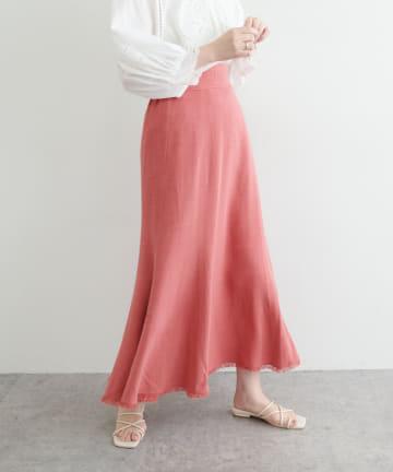 natural couture(ナチュラルクチュール) 長さ変えられる麻混フリンジスカート