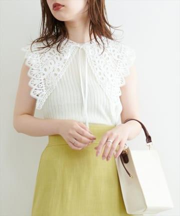 natural couture(ナチュラルクチュール) 【WEB限定】レース付け衿シンプルリブニット