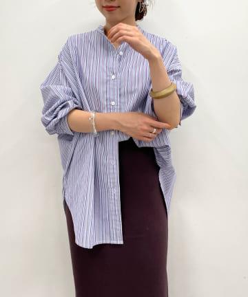 Omekashi(オメカシ) ドルマンビッグストライプシャツ