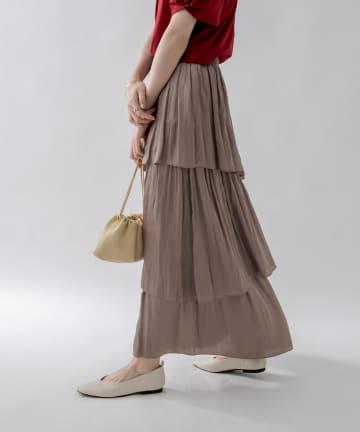 un dix cors(アンディコール) 《予約》【お洒落に差をつける主役級アイテム】割繊ティアードマキシスカート