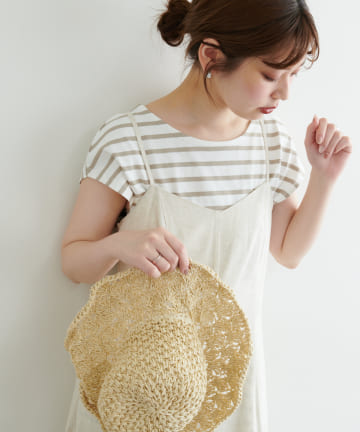 natural couture(ナチュラルクチュール) 【WEB限定】フレンチスリーブボーダーT