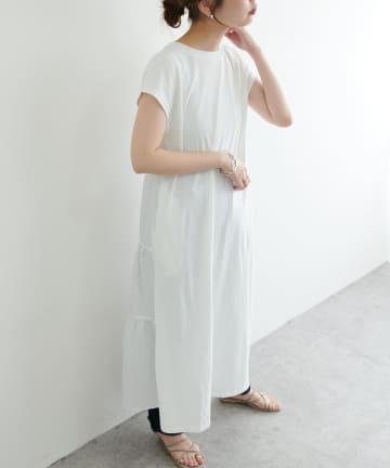 natural couture(ナチュラルクチュール) 【WEB限定カラー有り】バックシャツティアードTワンピース