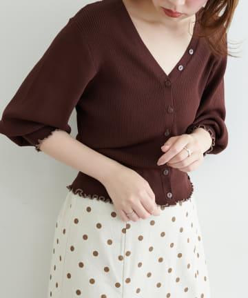 natural couture(ナチュラルクチュール) 袖口メローショート丈リブカーデ