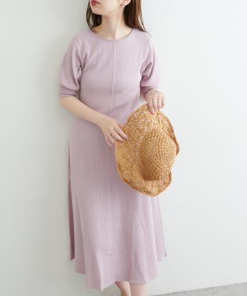natural couture(ナチュラルクチュール) 【WEB限定カラー有り】美シルエットワッフルフレアワンピース