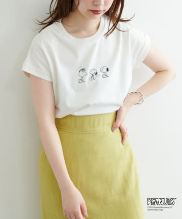 natural couture(ナチュラルクチュール) Snoopyコラボ バイオウォッシュフレンチスリーブT