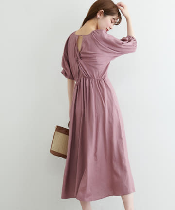 natural couture(ナチュラルクチュール) リネン混ねじりワンピース