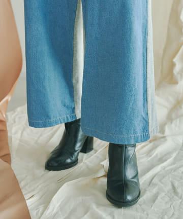 mona Belinda(モナ ベリンダ) デニム×スエットドッキングワイドパンツ
