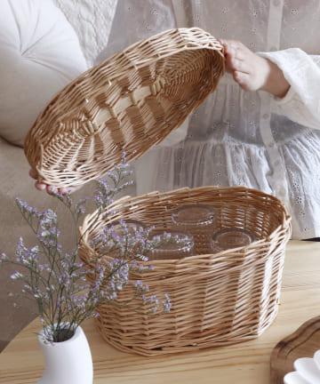 salut!(サリュ) 【お茶とお花】おひつのようなバスケットミニ