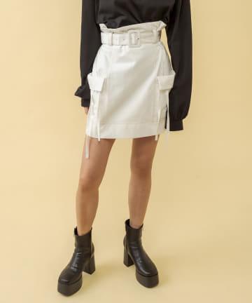 RASVOA(ラスボア) 配色ステッチビックポケットミニスカート