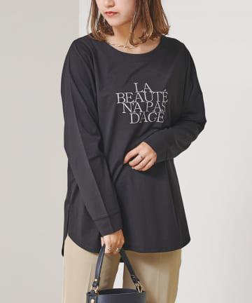 Chez toi(シェトワ) ベイクドコットンロゴレイヤードロンTシャツ