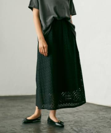 pual ce cin(ピュアルセシン) 【WEB限定】カットワークレースフレアスカート