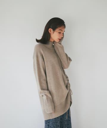 La boutique BonBon(ラブティックボンボン) 《予約》【裾のドロストで女性らしいドレープ】ドロストチュニックニット