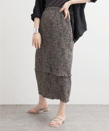 natural couture(ナチュラルクチュール) 【WEB限定】クリンクル加工ティアードナロースカート