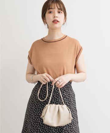 natural couture(ナチュラルクチュール) 配色ライン強撚ニット