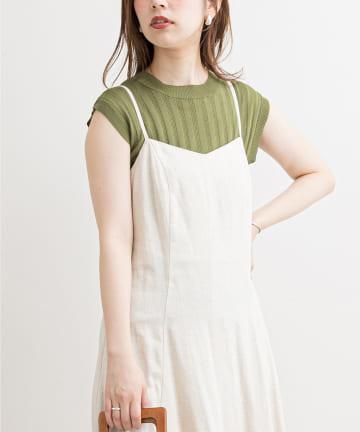 natural couture(ナチュラルクチュール) 便利なシンプルワイドリブニット