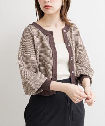 natural couture(ナチュラルクチュール) 【WEB限定】クリア釦メッシュカーディガン