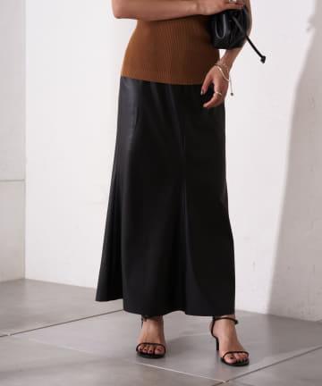 Loungedress(ラウンジドレス) フェイクレザーマキシスカート