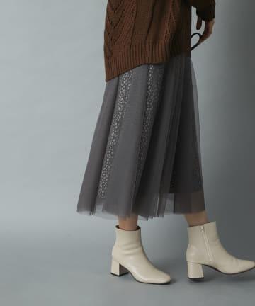 un dix cors(アンディコール) 《予約》【気分に合わせて着まわせる】チュール×ダルメシアンリバーシブルスカート
