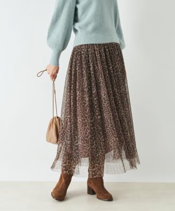 La boutique BonBon(ラブティックボンボン) 《予約》レオパードチュールギャザーチュールスカート