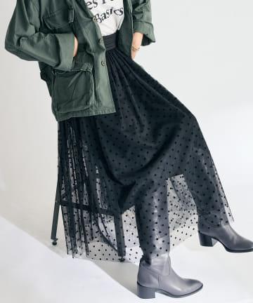 La boutique BonBon(ラブティックボンボン) 《予約》ドットチュールギャザースカート