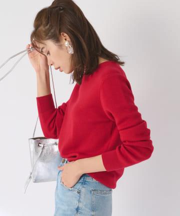La boutique BonBon(ラブティックボンボン) 【COZスタイル・シンプル・手洗い可】ウール100%クルーネックニット