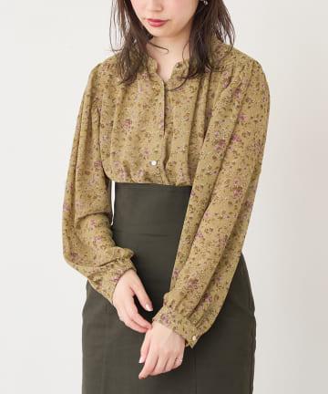 natural couture(ナチュラルクチュール) マット釦とろみサテンブラウス
