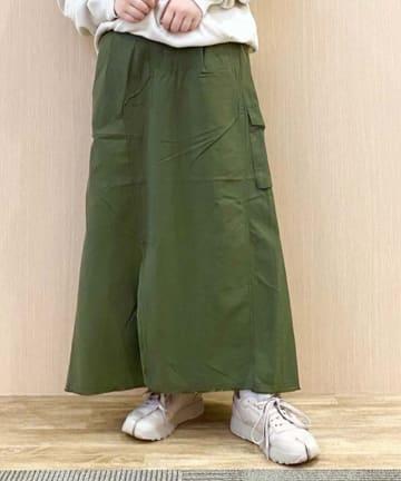 CIAOPANIC TYPY(チャオパニックティピー) 微光沢ミリタリーリメイク風スカート