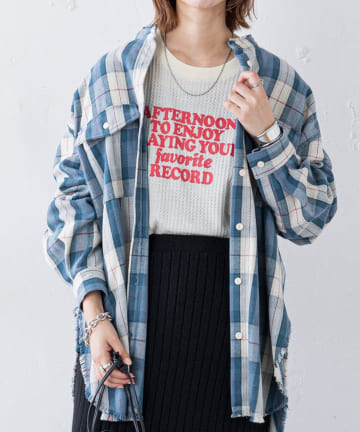 CIAOPANIC TYPY(チャオパニックティピー) ヘビーネルチェックBIGシャツ
