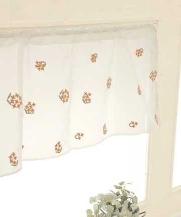 3COINS(スリーコインズ) 刺繍カフェカーテン:キンモクセイ柄