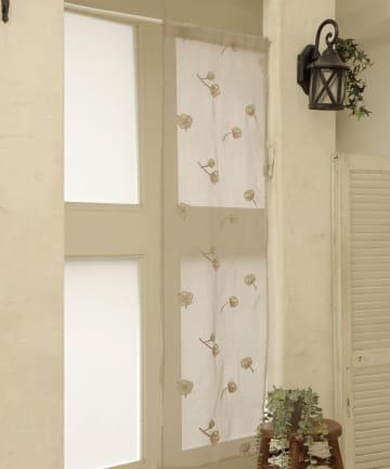 3COINS(スリーコインズ) 刺繍セパレートカーテン:コットンフラワー柄
